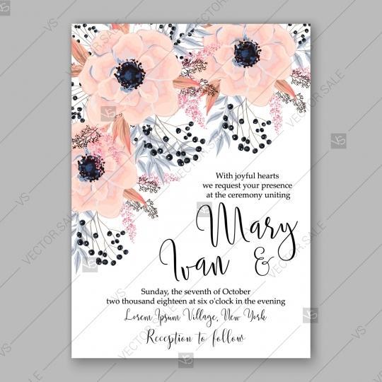 Wedding - Gentle anemone wedding invitation card printable template