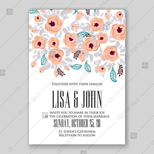 Peach pink salmon color rose anemone peony ranunculus wedding peach pink salmon color rose anemone peony ranunculus wedding invitation vector card stopboris Image collections