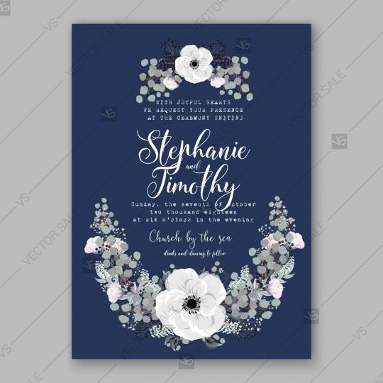 Mariage - Anemone Wedding Invitation Card Vector Template