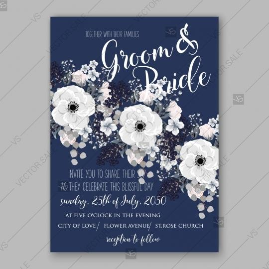 Свадьба - Anemone Wedding Invitation Card Vector Template