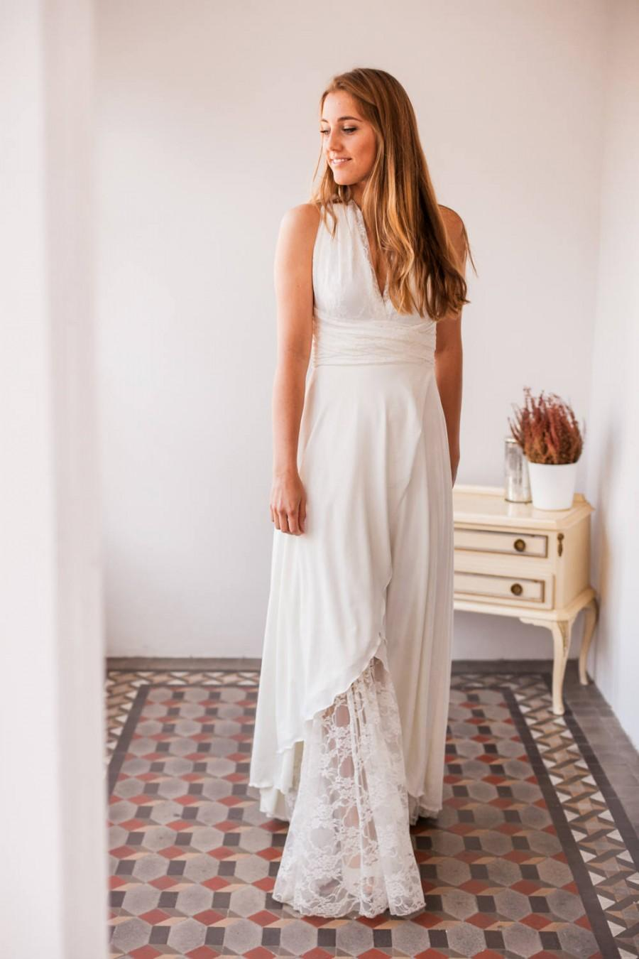 Wedding - Open front wedding dress, open front lace wedding dress, high low bridal gown, ivory lace bridal gown with slit, crossed skirt bridal gown