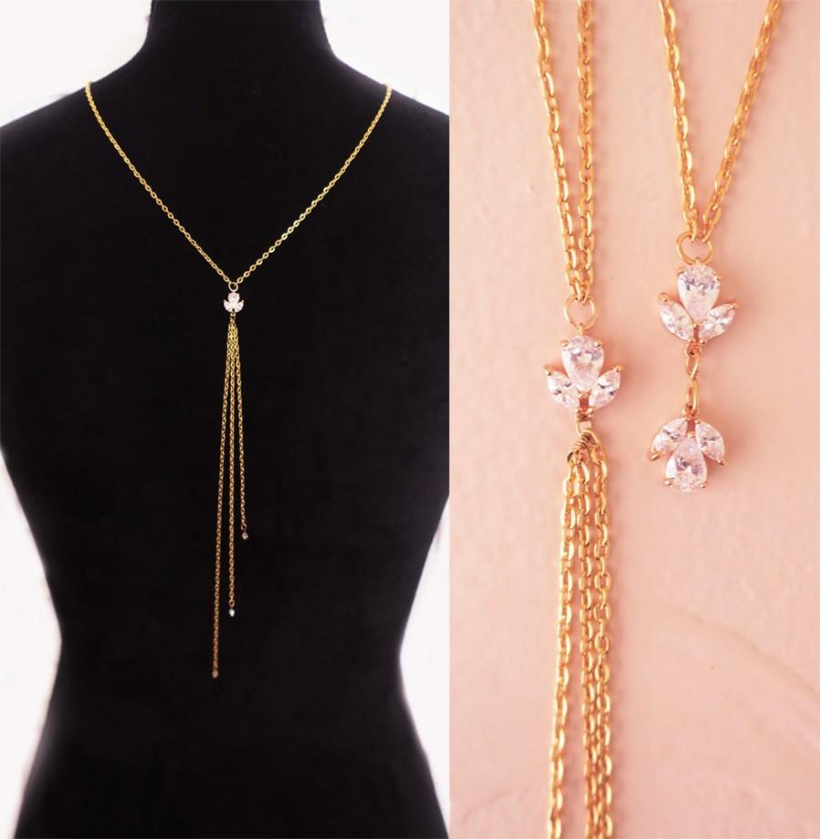 08a17ec3028ef Delicate Bridal Back Necklace AAA Grade Cubic Zirconia Gold Silver ...