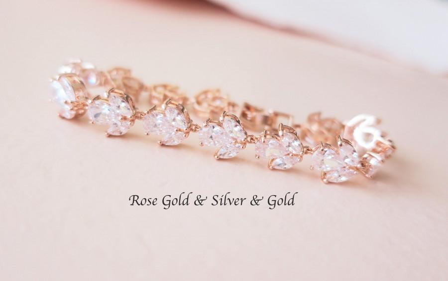 Hochzeit - Crystal Bridal Bracelet Rose Gold Wedding Bracelet Grade AAA Cubic Zirconia Marquise Jewelry Clear White Halo Tennis Bracelet Art Deco ROXY - $57.00 USD