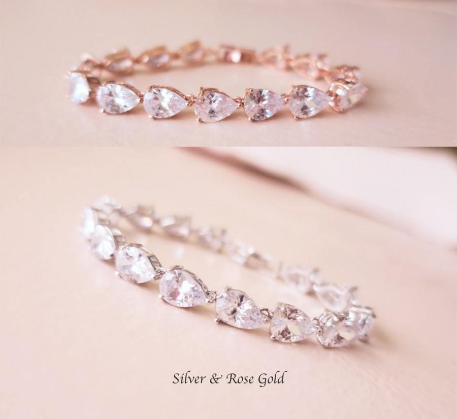 Mariage - Bridal Bracelet Crystal Wedding Bracelet Art Deco Cubic Zirconia Old Hollywood Inspired Grade AAA CZ Diamond Silver Gold Teardrop MISTY - $56.00 USD