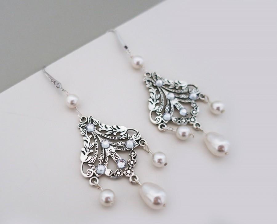 Art Deco Inspired Wedding Chandelier Earrings Swarovski Pearl Cubic Zirconia Sterling Silver Ear Wire 1920s Downton Abbey Bridal Jewelry 45 00 Usd