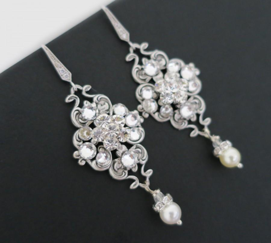 Wedding - Bridal Earrings Vintage, Wedding Earrings Chandelier, Pearl Dangle Earrings, Wedding Jewelry for Brides, Sterling Silver, Swarovski Pearl - $50.00 USD