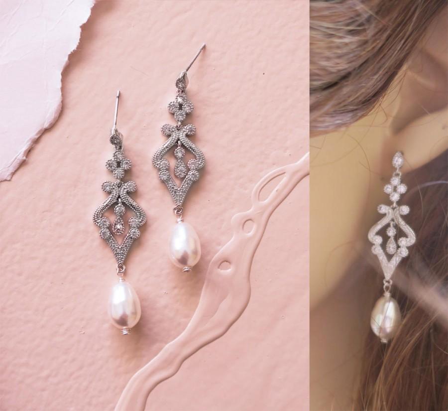 Wedding - Crystal Bridal Earrings Art Deco Wedding Earrings Chandelier Bridal Earrings Swarovski Teardrop Pearl Grade AAA Cubic Zirconia Gatsby EDNA - $55.00 USD