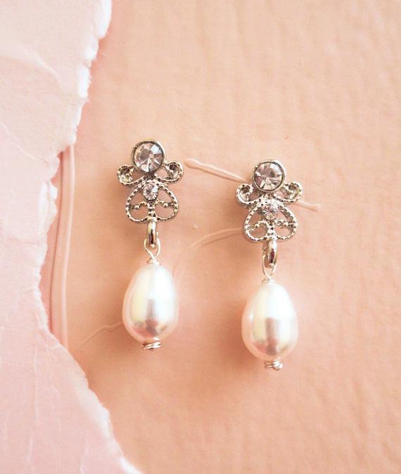 Petite Bridal Drop Earrings Swarovski Pearl Wedding Earrings Vintage ...