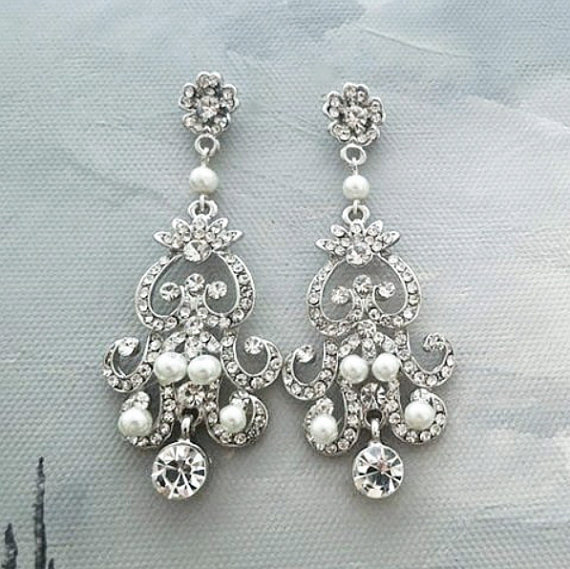 Wedding - Chandelier Wedding Earrings Bridal Pearl Earrings Pearl Crystal Wedding Earrings Wedding Jewelry Art Deco Small Ivory Pearls 1930s Sukran - $60.00 USD
