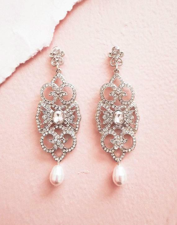 Wedding - Art Deco Gatsby Crystal Bridal Earrings with Swarovski Drop Pearl Wedding Earrings for Bride Vintage Style Chandelier AMELIA Old Hollywood - $45.00 USD