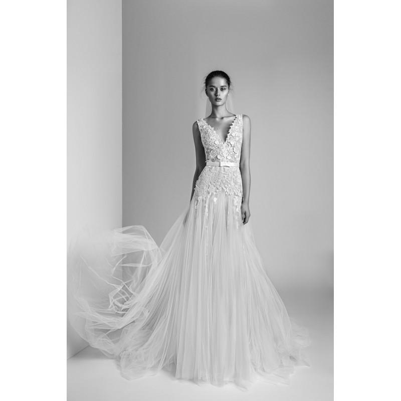 Hochzeit - Alon Livne White 2018 GABRIELLE Tulle Appliques Sweet Court Train White Sleeveless V-Neck Aline Wedding Gown - Brand Wedding Dresses