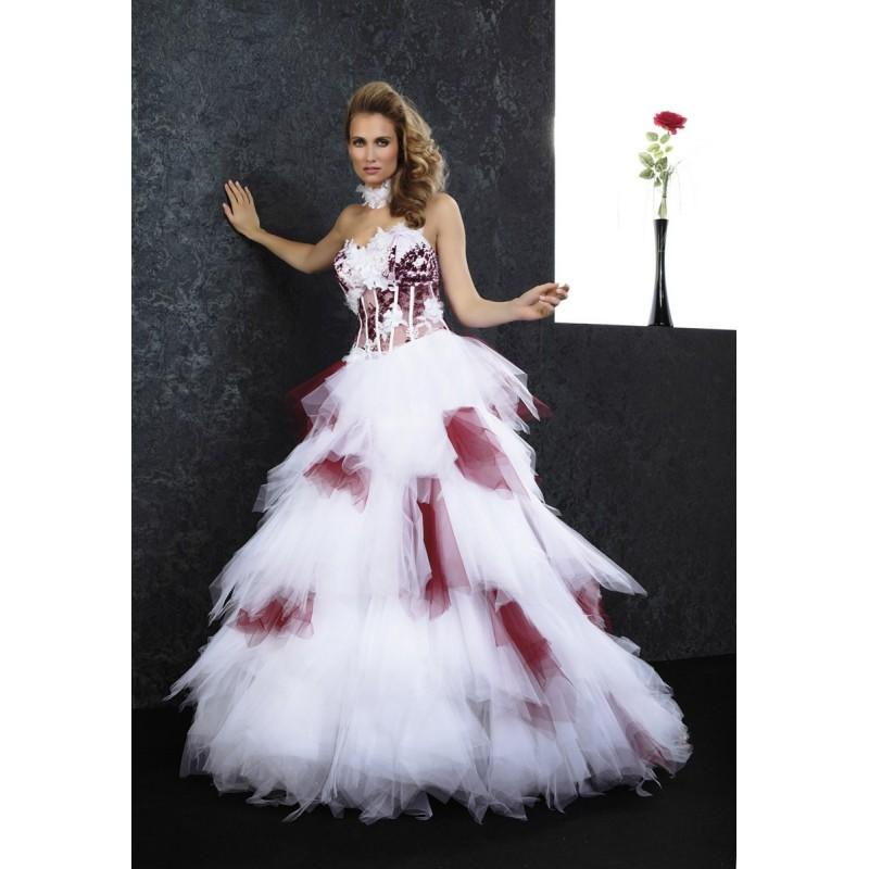 زفاف - Pia Benelli Prestige, panache bordeaux et blanc - Superbes robes de mariée pas cher