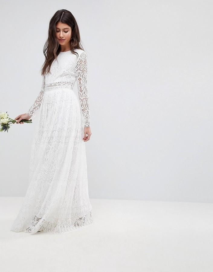 Asos Bridal Lace Long Sleeve Crop Top Maxi Dress 2807627 Weddbook