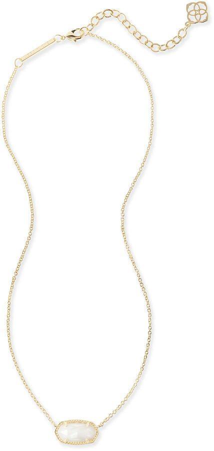زفاف - Elisa Gold Pendant Necklace in White Pearl