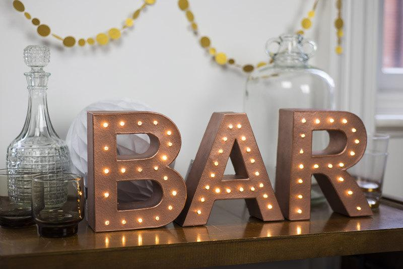 Свадьба - Freestanding BAR marquee letter light - battery operated