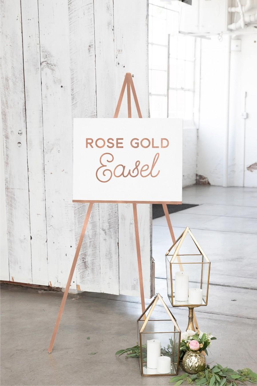 Rose Gold Wedding Easel   Rose Gold Wood Easel   Easel For Sign