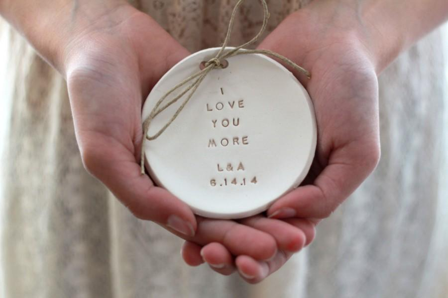 Hochzeit - I love you more Wedding ring bearer, Ring bearer pillow alternative, Ring dish Alternative Wedding Ring pillow