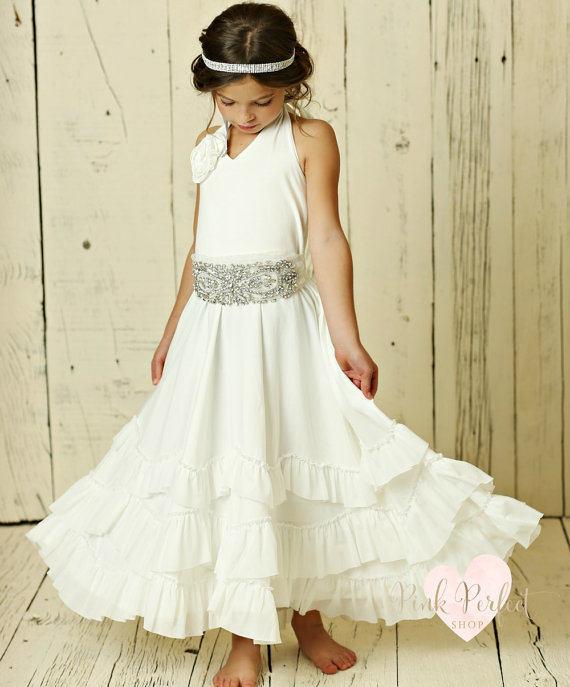 Mariage - Flower girl dress,beach flower girl dress, Ivory rustic flower girl,bohemian flower girl dress,country flower girl dress,flower girl dresses