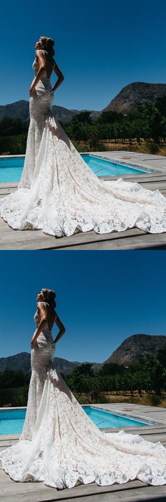 Mariage - V-Neck Sleeveless Ruched Backless Lace Wedding Dress With Court Train WD141