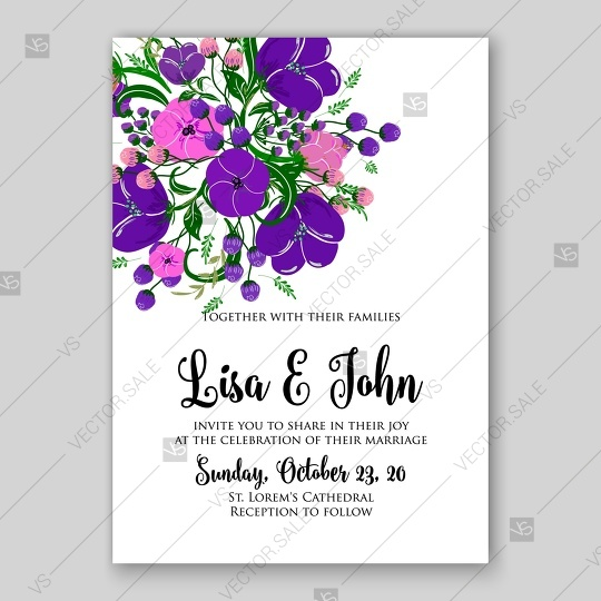 Wedding - Floral wedding invitation vector template card in violet style tulip peony anemone