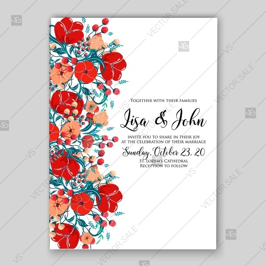 Floral Wedding Invitation Vector Template Card In Red Style Maroon