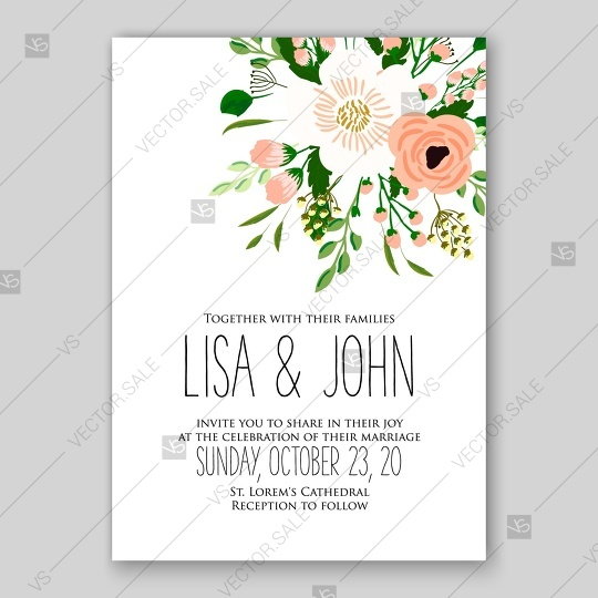 Peach Ranunculus Rose Wedding Invitation Printable Vector