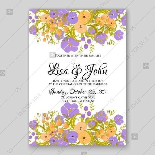 زفاف - Wedding invitation card bridal shower violet peony and yellow anemone vector bouquet of flowers