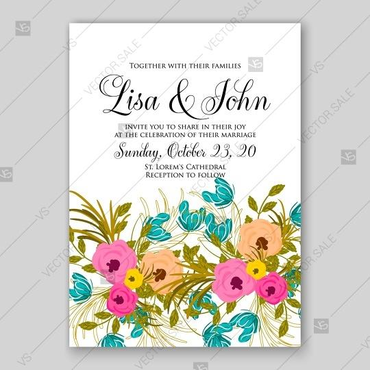 Wedding Invitation With Pink Rose Background 2807910 Weddbook