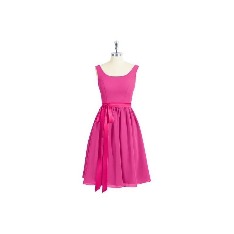 زفاف - Fuchsia Azazie Mila - Chiffon And Charmeuse Scoop Scoop Knee Length Dress - Charming Bridesmaids Store