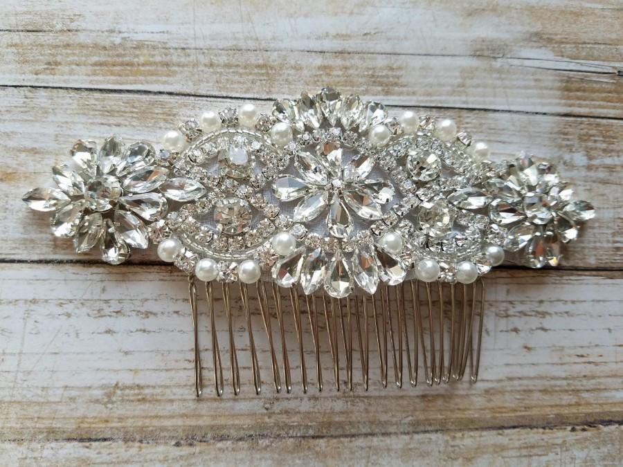 Hochzeit - Wedding Hair Comb - Rhinestoen & Pearl Hair Comb - Style H0778CR