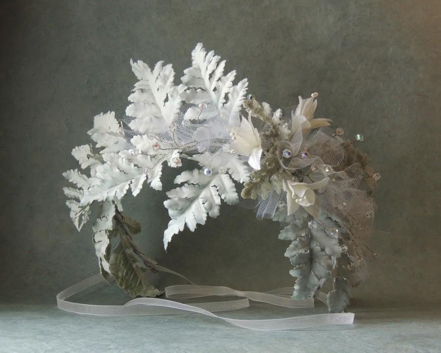Wedding - Fern Hair Wreath, Woodland Crown Tiara, White Bohemian Bridal Crown, White Wedding Hair Accessories, Boho Vine Crown, Floral Wreath Crown