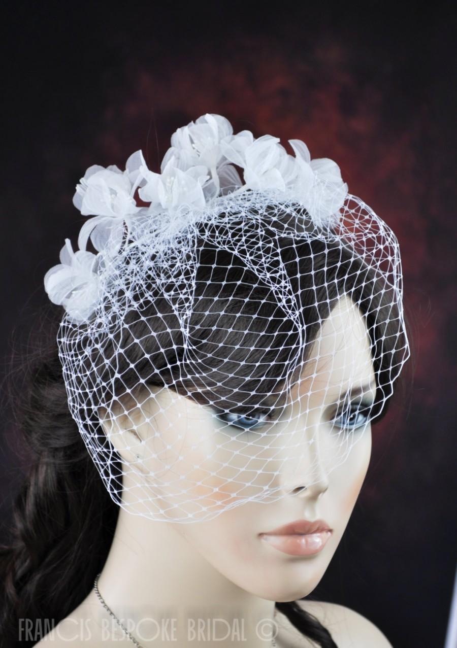 زفاف - Birdcage Veil wedding bridal white flowers blusher, bridal Russian Bird Cage Veil comb, headband Wedding Veil made in Florida