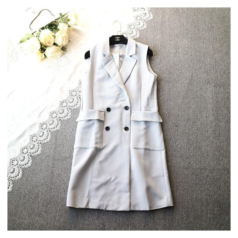 Mariage - Slimming Polo Collar Sleeveless Double Breasted Cardigan Vest Coat - beenono.com