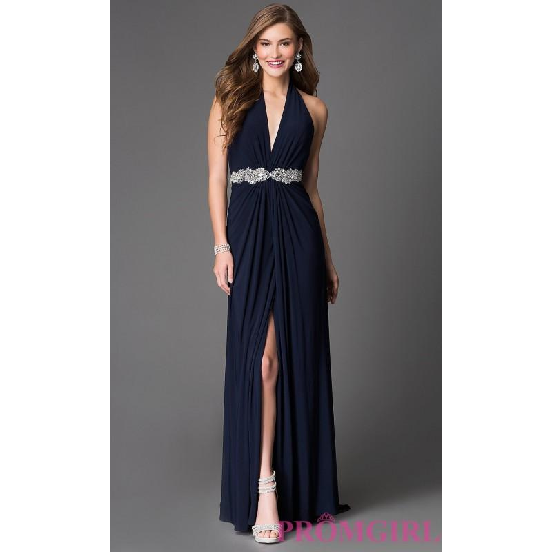 Wedding - Xcite Halter Floor Length Prom Dress with Jewel Waist - Brand Prom Dresses