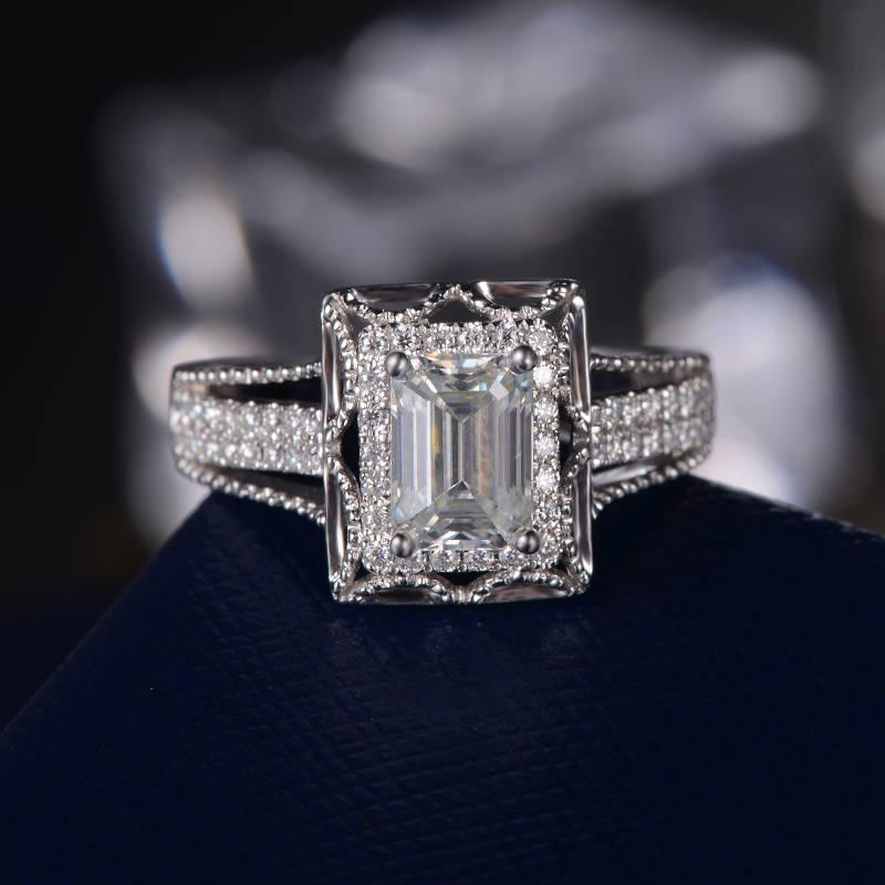 Wedding - Art Deco Antique Engagement Ring Forever One Moissanite White Gold Retro Unique Bridal Set Emerald Cut Split Shank Promise Anniversary Ring
