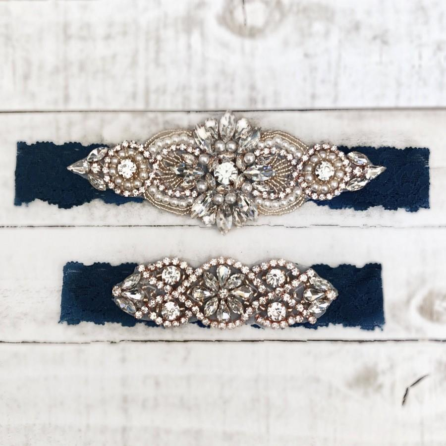 Свадьба - Rose gold Bridal Garter, navy garter, NO SLIP Lace Wedding Garter Set, bridal garter set, vintage something blue