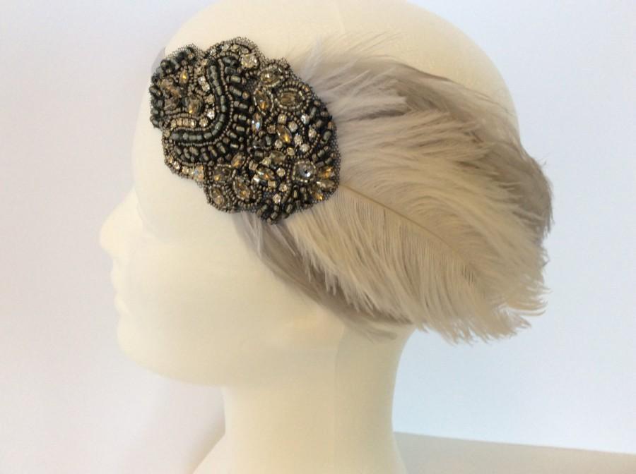 Mariage - 1920s Headpiece hair accessories, Ivory ostrich feather gray rhinestone Charleston dress gunmetal Stretch Elastic gray titanic Edwardian