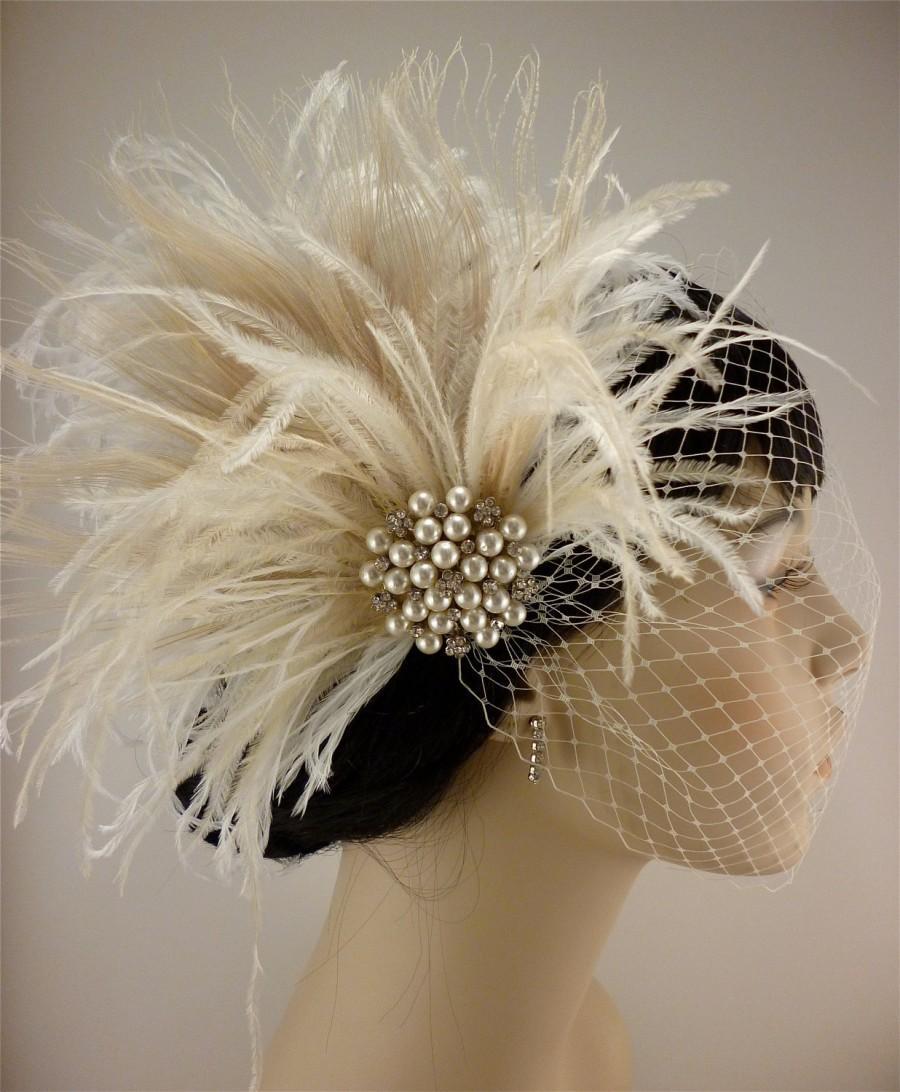 Mariage - Fascinator, Rhinestone Pearl Bridal Feather Fascinator, Ivory Feather Fascinator, Bridal Headpiece, Wedding Veil,  Old Hollywood