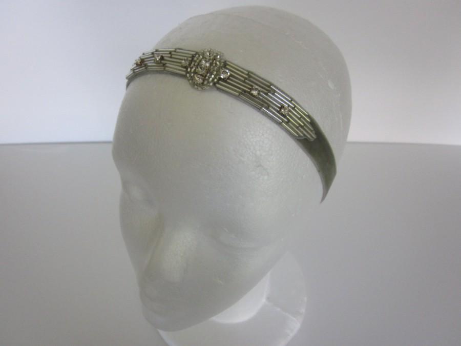 Mariage - Art Deco headband, silver wedding headband, 1920s great gatsby flapper headpiece, silver beaded rhinestone Crystal headband, bridal headband