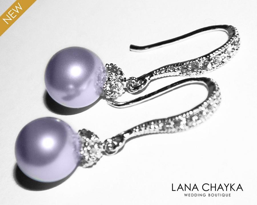Wedding - Lavender Pearl Drop Earrings Lilac Pearl Small Earrings Swarovski 8mm Pearl Sterling Silver CZ Wedding Earrings Lavender Pearl Prom Jewelry - $24.90 USD