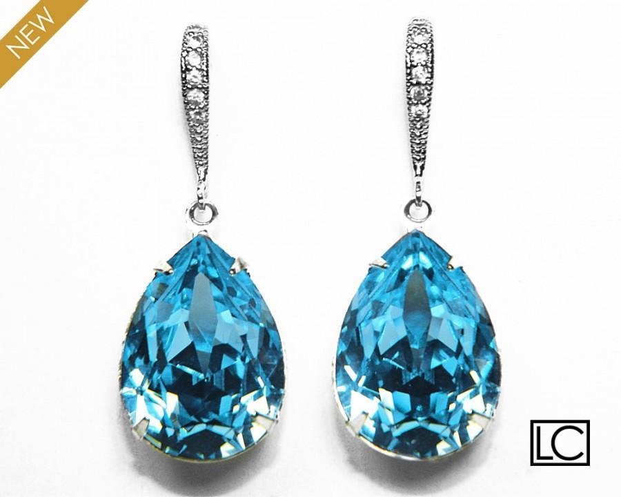 Aqua Blue Crystal Earrings Swarovski Aquamarine Rhinestone Teardrop Silver Dangle Wedding Bridal 29 00 Usd