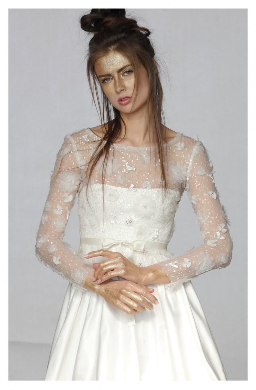 Свадьба - Bridal Lace Top, Bridal Separates, Rustic Wedding Blouse, Floral Wedding Top, Long Sleeve Wedding Top, Wedding Lace Top, Sheer Wedding Top