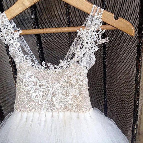 Свадьба - 2017 ROYALTY ivory Flower Girl Dress, First communion dress, holy Communion Dress