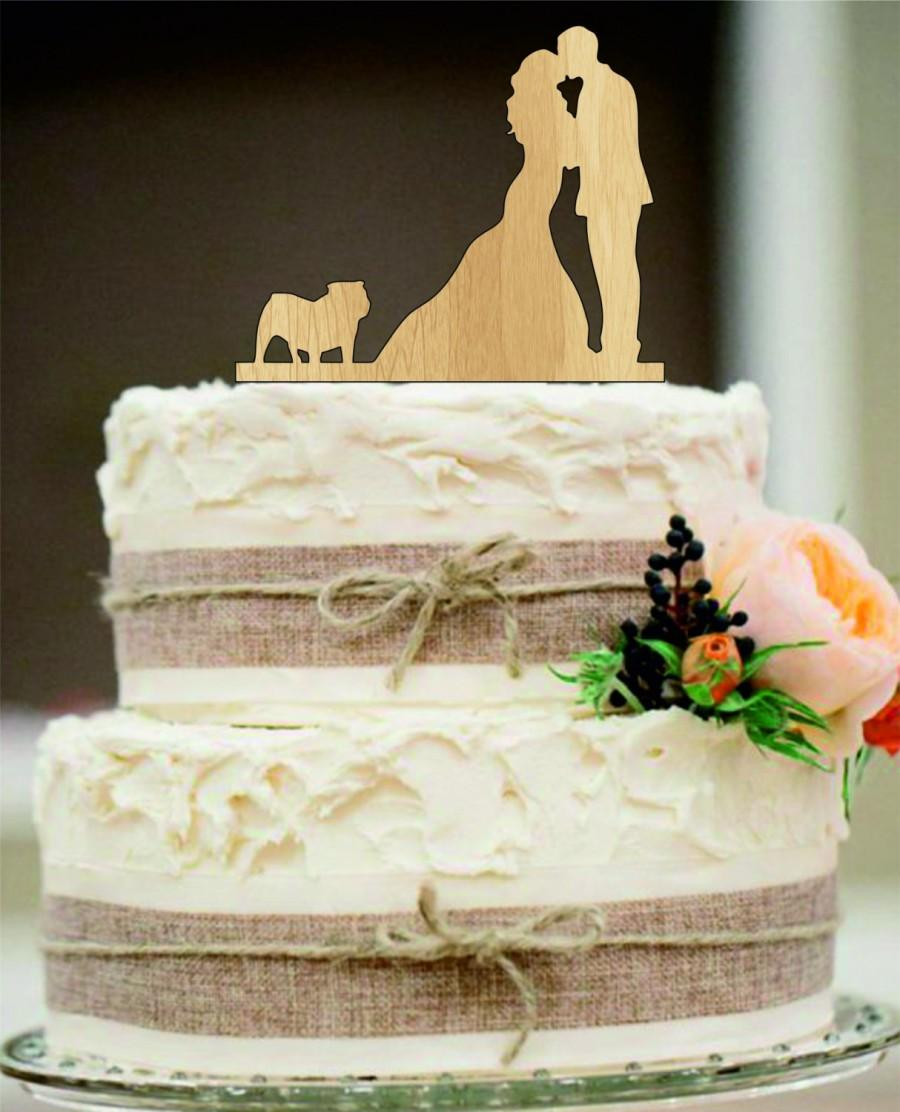 Silhouette Wedding Cake Topper Couple Kissing With