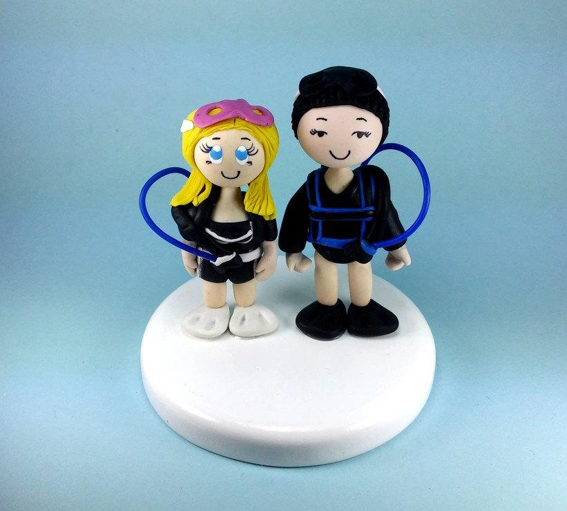 Свадьба - Wedding cake topper, Scuba diver cake topper, scuba diver wedding
