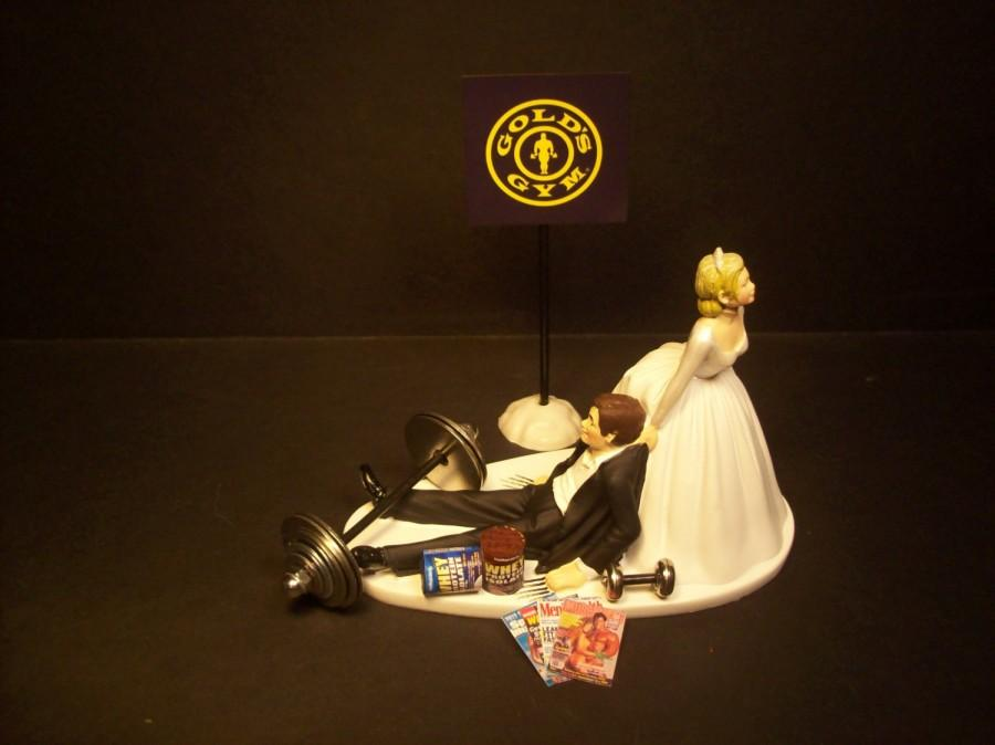 Свадьба - NO More GYM Workouts Bride and Groom Wedding Cake Topper Funny