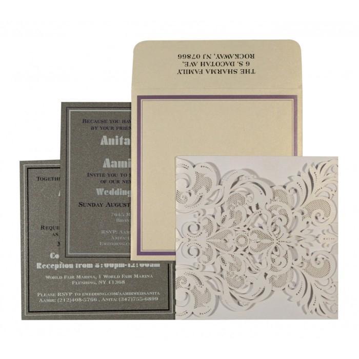 Wedding - Ivory Shimmery Paisley Themed - Laser Cut Wedding Invitations : CD-1592