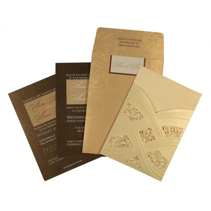 Wedding - Ivory Shimmery Laser Cut Wedding Invitations : CD-1591