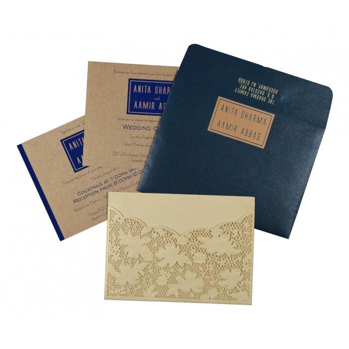 Wedding - Ivory Shimmery Floral Themed - Laser Cut Wedding Invitations : CD-1586