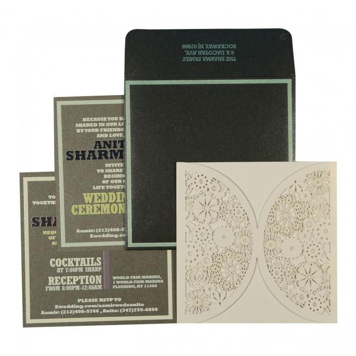 Wedding - Ivory Shimmery Floral Themed - Laser Cut Wedding Invitations : CD-1594